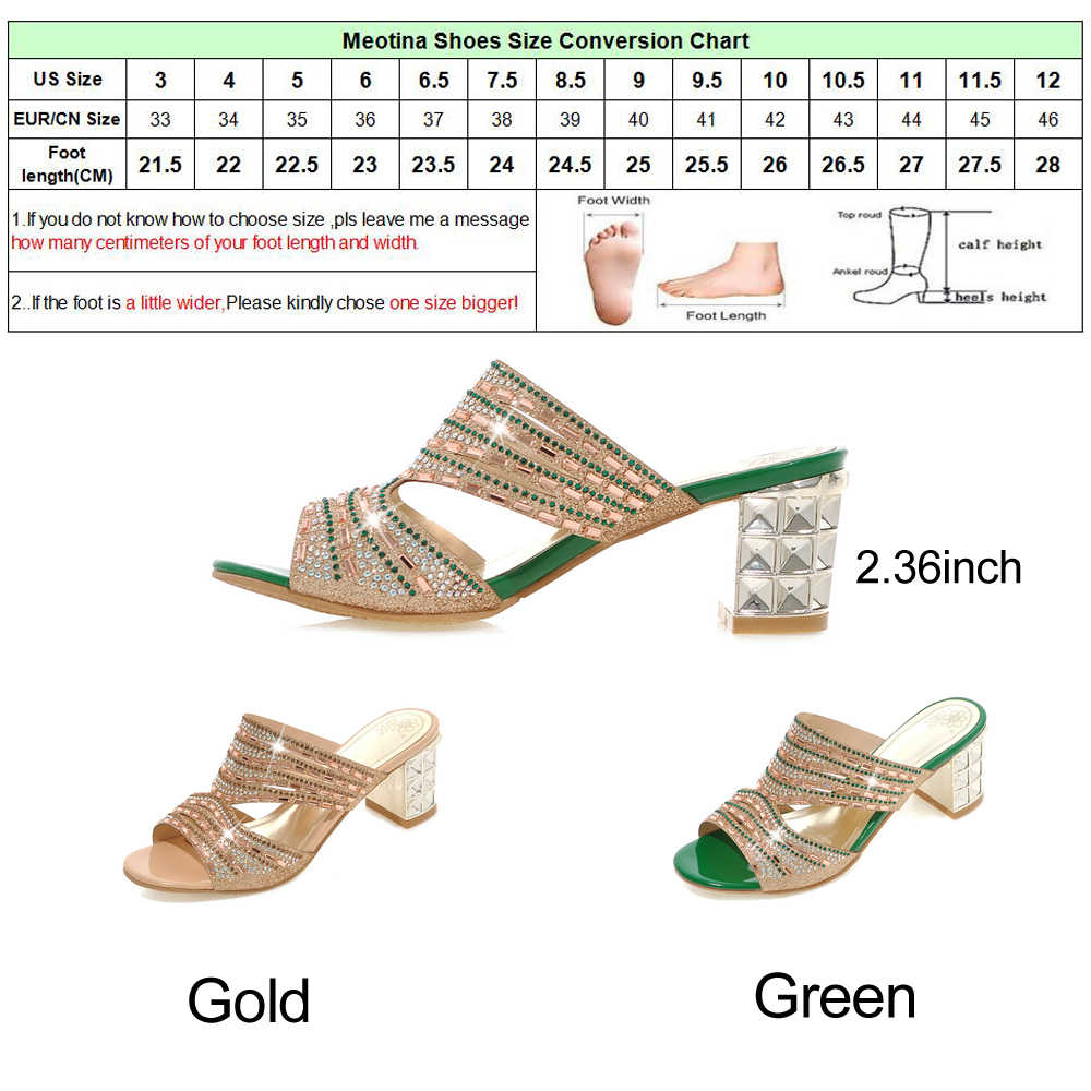 Meotina מעצב נעלי נשים יוקרה 2018 נשים שקופיות בוהן פתוח עקבים גבוהים ריינסטון נעלי בית קיץ כפכפים זהב גודל 9 10 11