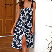 Brief Relate Summer Floral Print Women Dress Square Collar Bowknot Backless Sleeveless Sundress Knee-length Dress knee length print day dress