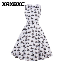 XAXBXC 2017 Summer Retro Vestido Swan Flower Strawberry Prints Vintage  1950s Swing A-line Women Dress Evening Party Plus Size a005a59d4dc7
