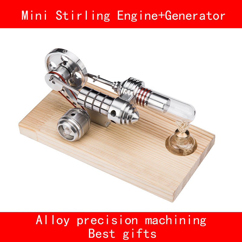 Double cylinder stainless steel aluminium alloy Precision machining mini stirling engine+Generator with LED best gifts double cylinder stainless steel aluminium alloy base precision machining mini stirling engine generator with led best gifts