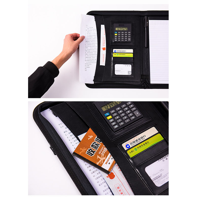 Portable high-grade imitation leather multi-function zipper manager folder office folder folder business stationery  supplies   Portable high-grade imitation leather multi-function zipper manager folder office folder folder business stationery  supplies
