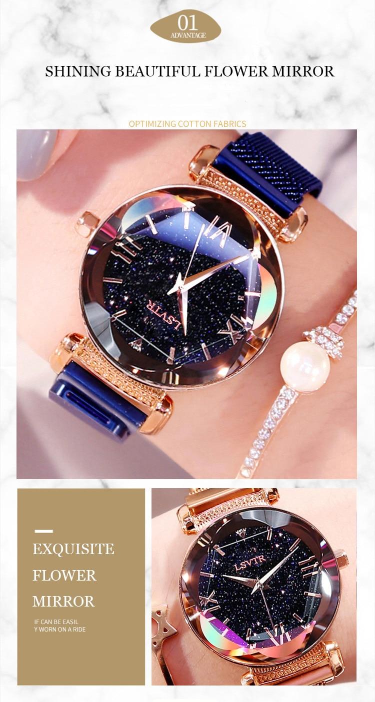 2019 Popular Women Watches Fashion Elegant Magnet Buckle Luxury Purple Lady Wristwatch 2018 Starry Sky Roman Numeral Gift Clock (3)