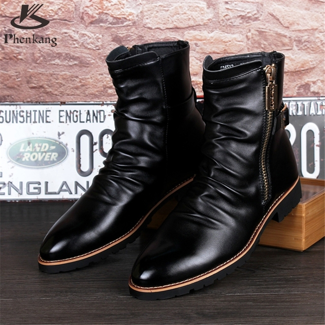 Cow leather big shoes US size 9 designer vintage High boots man shoes pointed toe handmade black 2017 sping with fur