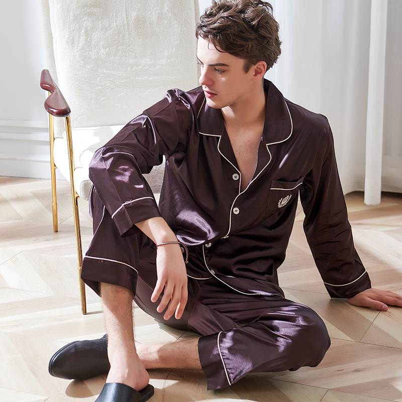 Xifenni Faux Silk Pajamas Male 2020 Autumn New Silky Ice Silk Sleepwear Man Long-Sleeve Dark Coffee Pajama Sets 9003