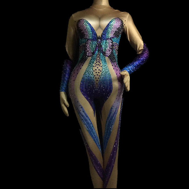 Women's Birthday Celebrate Female Singer Show Wear Glisten Multicolor Rhinestones Jumpsuit Butterfly Pattern Bodysuit Costume
