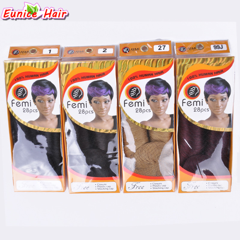 Eunice 28pcspack 3 5inch Short Straight Sew In Hair Extension