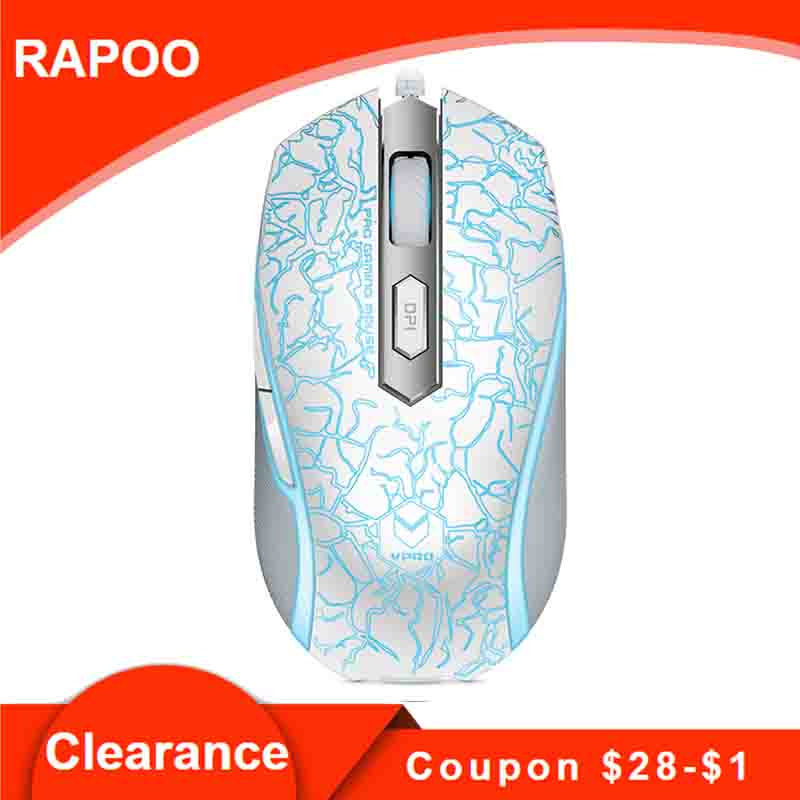 Rapoo V210 Optical USB Wired Gaming Mouse Mice 3000 DPI 5 DPI values 7 Buttins for Gamer PC Laptop Computer cs go PUBG image