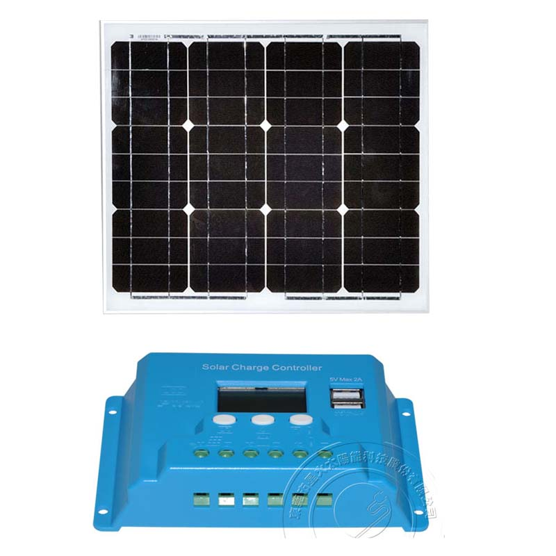 SolarKit Waterproof Solar Panel 30W 12V Battery Charger Solar Charge Controller 12v/24v 10A PWM Dual USB For Phone LED Home