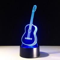 NEW 3D Creative Ukulele Guitar Earth Zebra Light 7 Color Touch Switch Table Desk Lamp Xmas