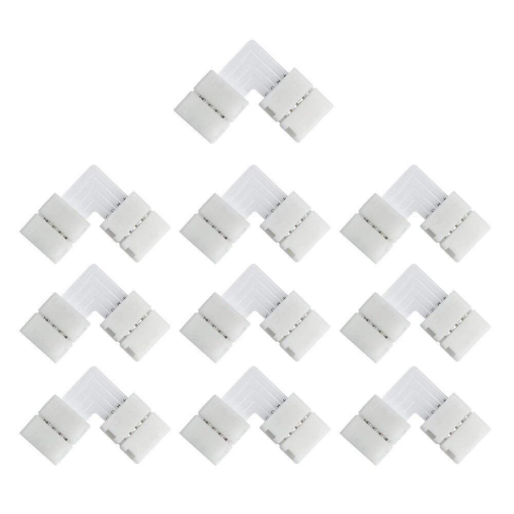 10pcs 8mm 10mm 4PIN LED Strip Connector L T + Shape Solderless Corner Connectors For 5050 2835 RGB LED Strip Light