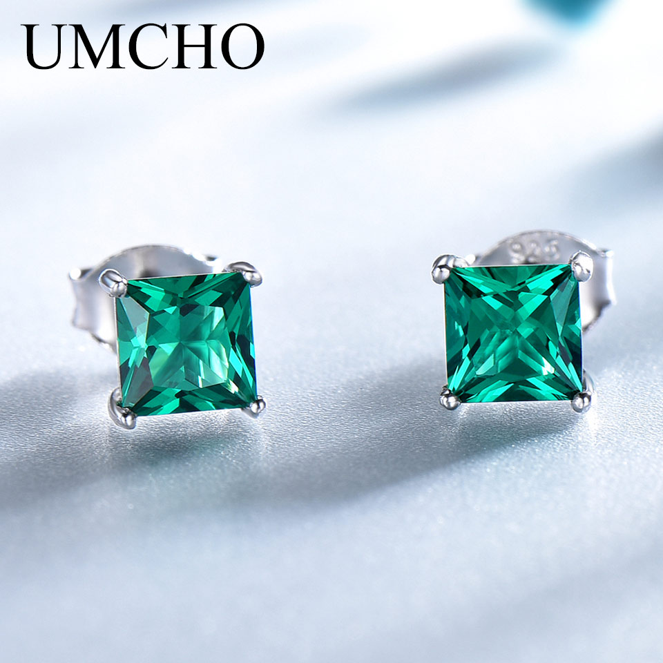 UMCHO 100% 925 Sterling Silver Emerald Stud Earrings For Women Princess-cut Gemstone Birthstone Fashion Korea Earrings Jewelry