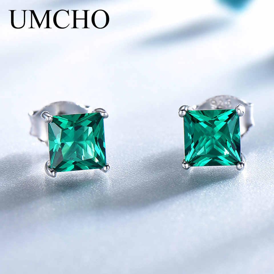 UMCHO 100% 925 เงินสเตอร์ลิงต่างหูมรกตสตั๊ดสำหรับเจ้าหญิงตัดพลอยแฟชั่นต่างหูเกาหลีเครื่องประดับ