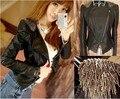 Очарование дамы погоны Тонкий новая мода черный PU кожаная куртка Jaqueta де couro feminina jaquetas colegial