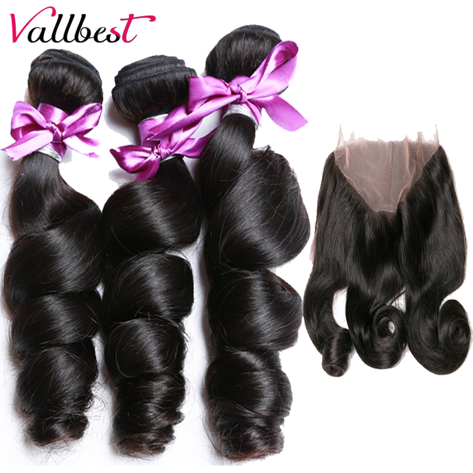 Vallbest Peruvian Hair Bundles With Closure Loose Wave 360 Lace Frontal Human Hair 3 Bundles With Closure Remy Hair Weave Front