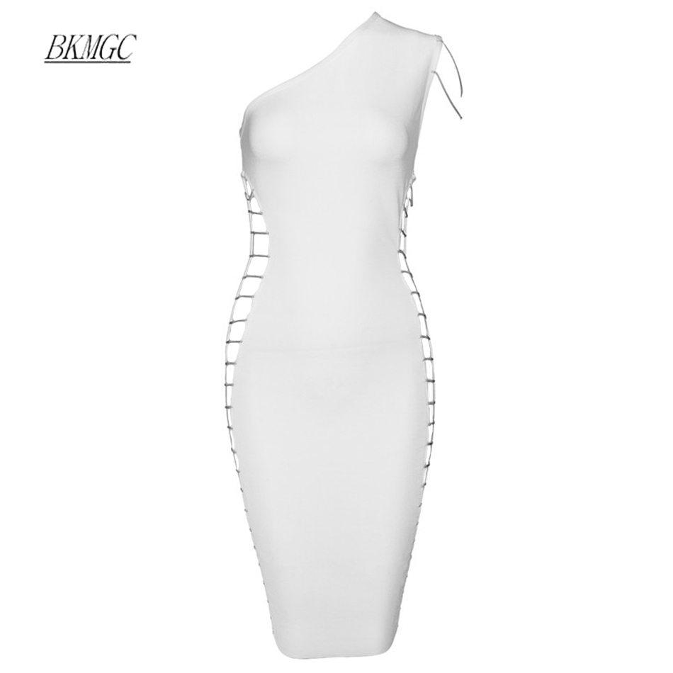BKMGC One Shoulder Elegant Hollow Out Sexy Metal Chain Bodycon Celebrity Bandage Party Women Dress 2017 Night Out Noble Vestidos