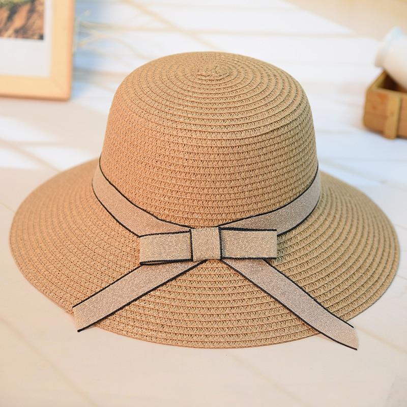Fashion Women s Casual Sun Hat Straw DIY Woven Beach Hat Summer Hats For  Women Ladies Straw Hats Snapback Bow Tie Ribbon Round a1c45b7b327