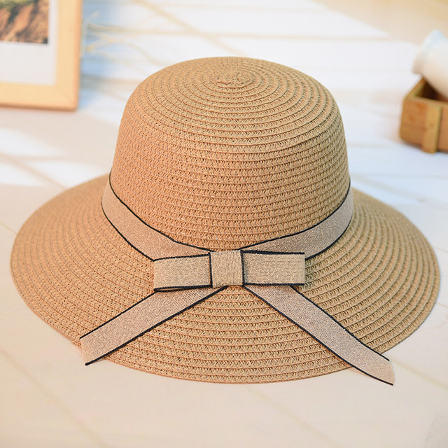 e5ccb248218 Fashion Women s Casual Sun Hat Straw DIY Woven Beach Hat Summer Hats For Women  Ladies Straw Hats Snapback Bow Tie Ribbon Round