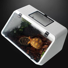 Pet Terrarium Sloping Pet Box Snake Box Water Turtle Tank Small Turtle Tank with Drying Platform Climbing Horn Box