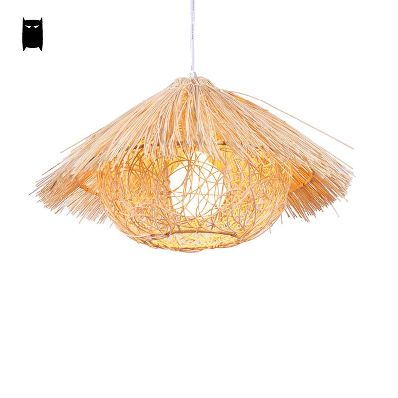Natural Wicker Rattan Nest Pendant Light Fixture Rustic Asian Japanese Art Style Hanging Lamp Luminaria Indoor Home Dining Room In Lights From