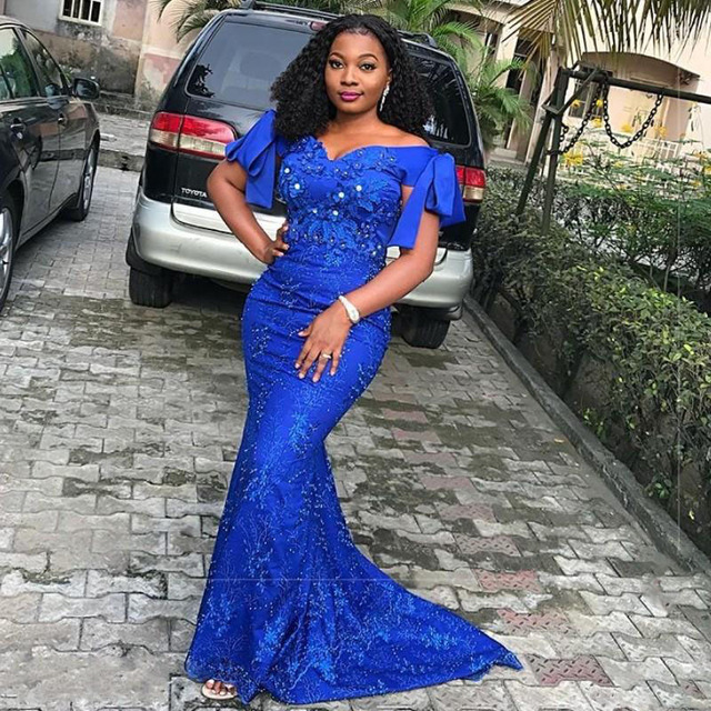 45446ce84d2 Elegant Royal Blue Long Prom Gowns Mermaid Africa Nigeria Women Formal  Dress Plus Size Off Shoulder Evening Gowns Robe de soiree