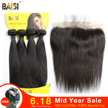 BAISI Brazilian Hair Weave 4 Bundles With Closure Straight Wave Human Hair Bundles With Closure Virgin Human Hair Extension(China)
