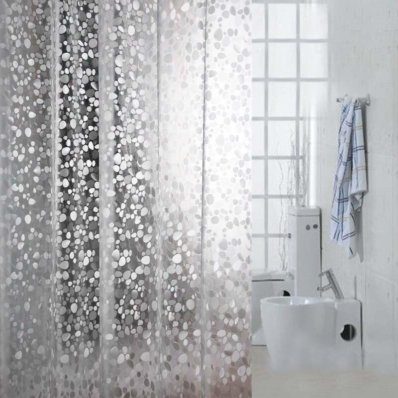 1 шт., прозрачная Водонепроницаемая занавеска для душа, толстая камушка Rideau De Douche + 12 крючков, Современная занавеска для ванной, YL46