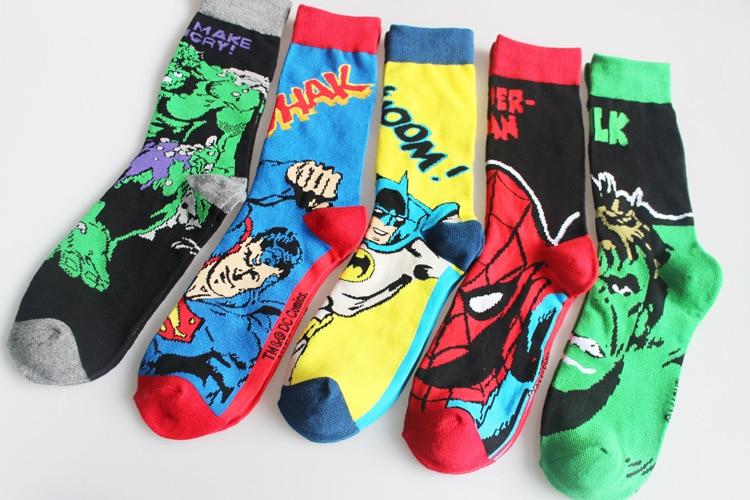 New Marvel Comics Batman Spiderman Knee-High Socks Superman The Hulk Cospaly Socks Men Cartoon Comics Cotton Sports Socks