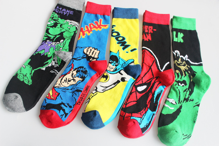 New Men Socks Comics Batman Spiderman Knee-High Socks Superman The Hulk Cartoon Casusal Socks 5 Styles