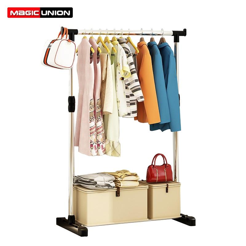 Magic Union Single Pole Folding Metal Coat Rack Clothes Hanging Garment Dress Drying Rack With Wheels