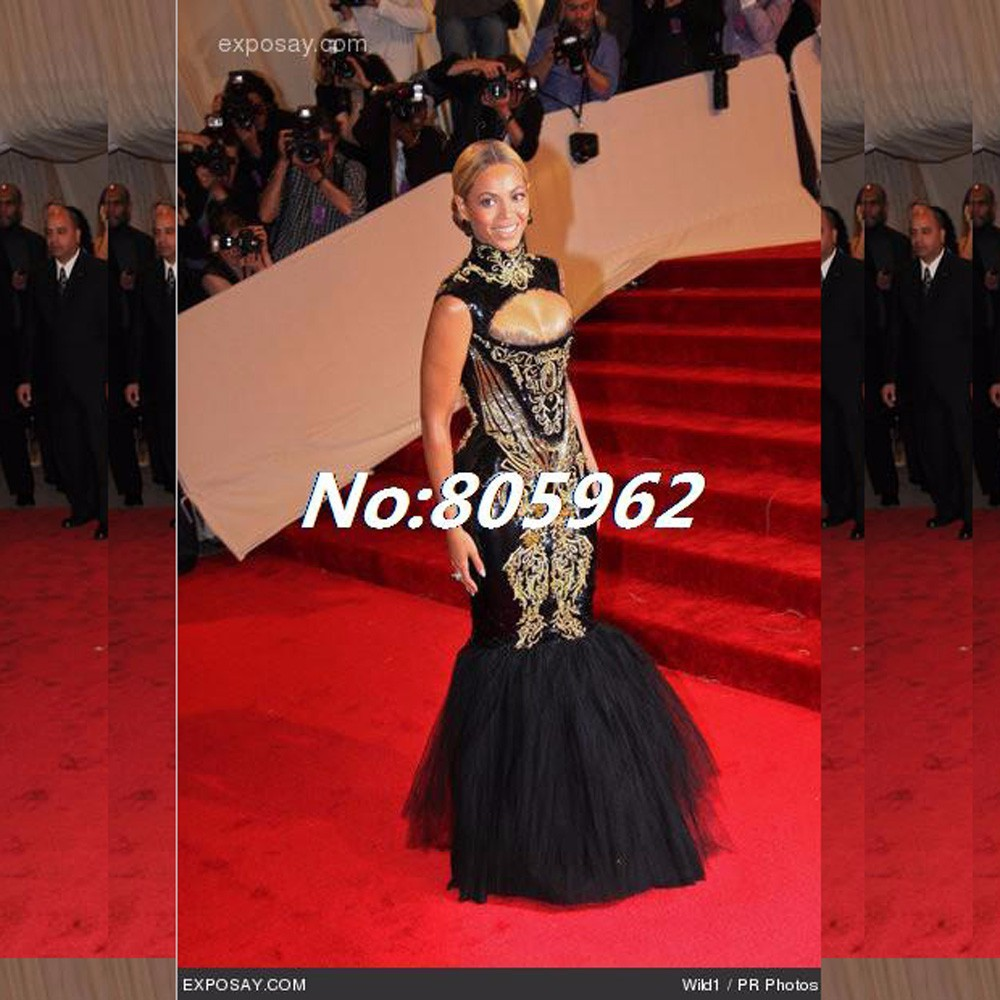 Custom-made-2014-Hot-Sexy-Beyonce-MET-Gala-Black-And-Gold-Embroidery-Beaded-Mermaid-Celebrity-Dresses (3)