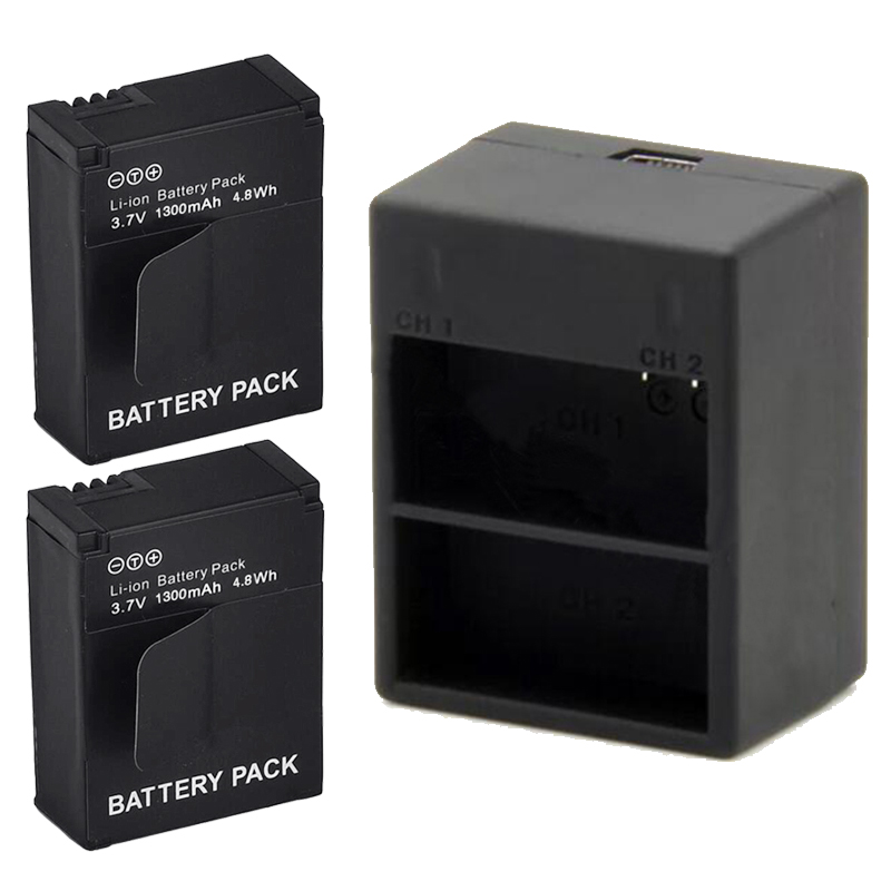 Rechargeable Li ion 2x 1300mAh Battery Dual USB Charger for Gopro Hero 3 AHDBT 301