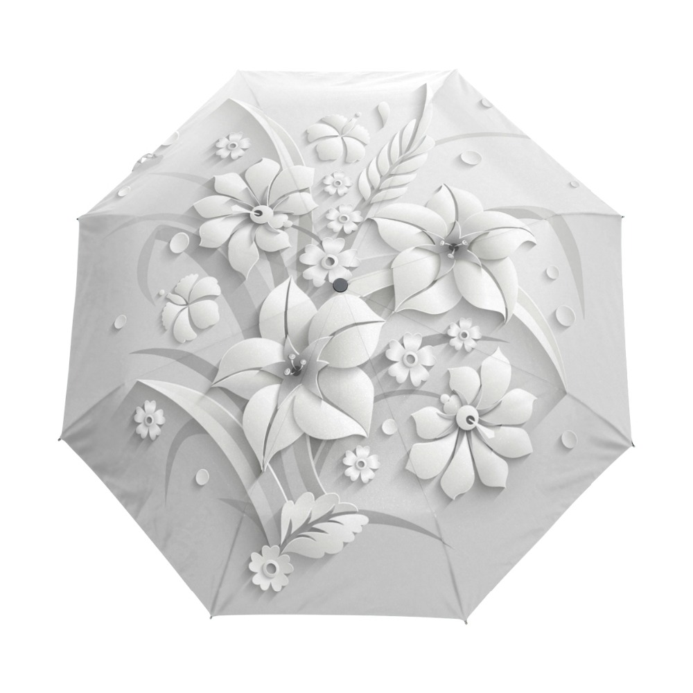 Full Automatic 3D Floral Guarda Chuva White Chinese Sun Umbrella 3 Folding Umbrella Rain Women Anti UV Outdoor Travel Sombrinha