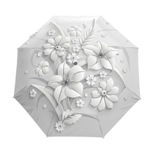 كامل التلقائي ثلاثية الأبعاد الزهور غواردا Chuva الأبيض الصينية مظلة واقية من الشمس 3 مظلة قابلة للطي المطر النساء مكافحة الأشعة فوق البنفسجية السفر في الهواء الطلق Sombrinha