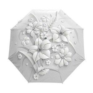 Image 1 - Guarda chuva de sol 3d dobrável, guarda chuva branco com 3 dobras, automático, anti uv para viagem ao ar livre