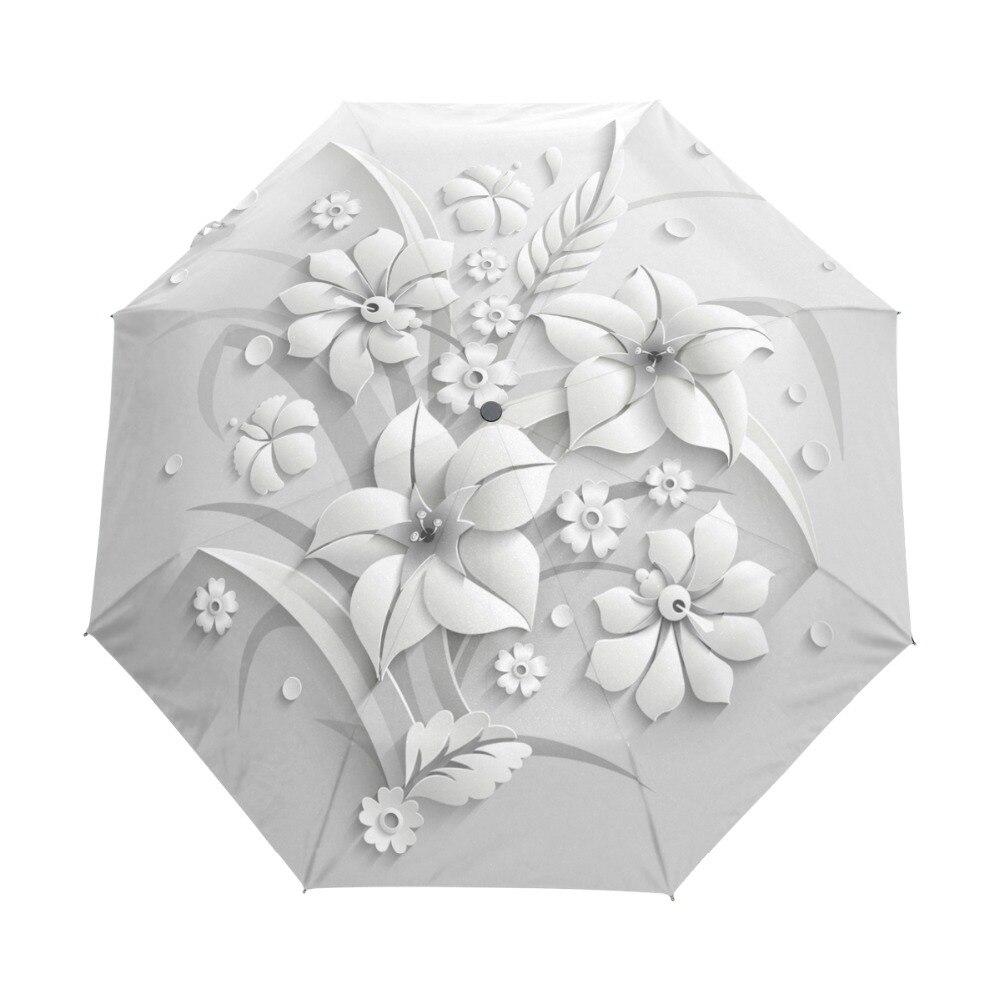Guarda Chuva Automático cheio 3D Floral Branco Chinês 3 Folding Umbrella Chuva Mulheres Anti UV óculos de Sol Guarda-chuva Sombrinha de Viagem Ao Ar Livre