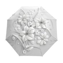 Parapluie de soleil chinois pliable blanc pour femmes, 3D Floral entièrement automatique, Anti UV, pour les voyages de plein air