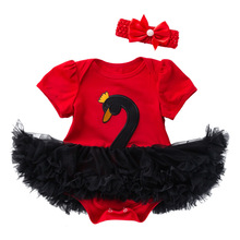 Infant Girl Dresses Swan Romper Newborn Tutu Dress Baby Pink Red Short Sleeve Clothes Party
