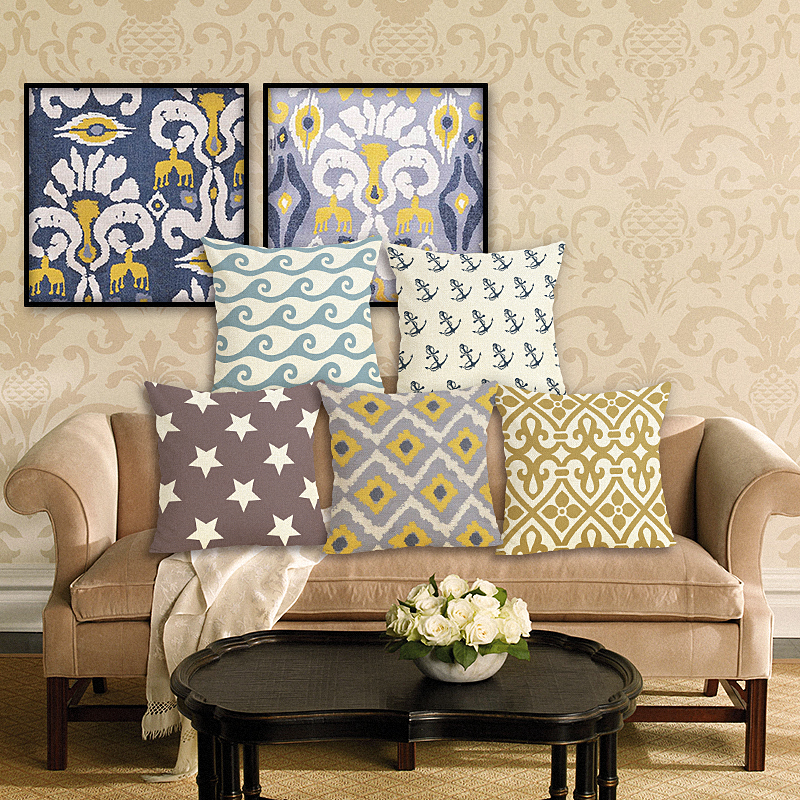 Home Decoration Stripe Cushion Cover Cotton Linen Pillow Case Throw Wedding Decorative Pillowcase Cushion Case