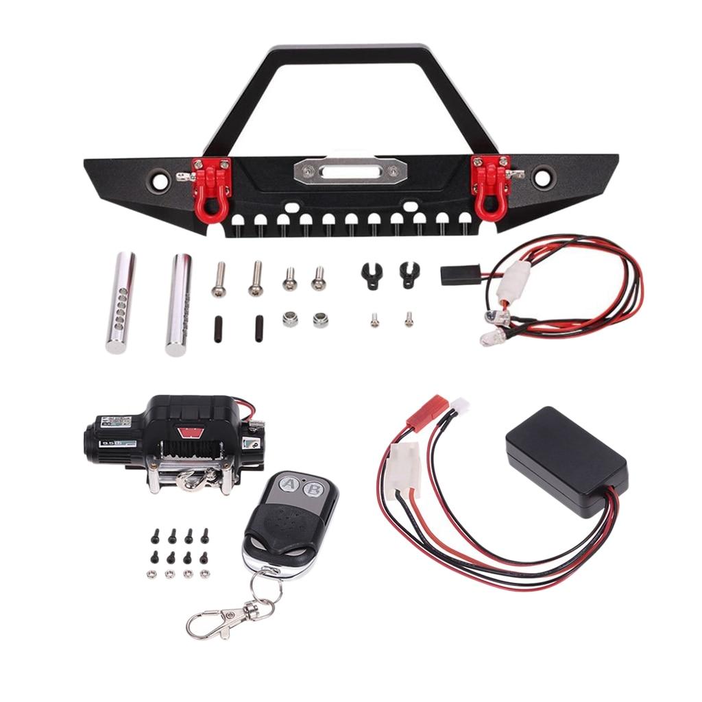 1/10 Rock Crawler Front Bumper Wireless Remote Control Winch for Axial SCX10 Upgrade Parts