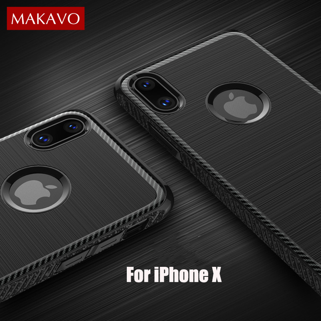 newest collection 0afde 236cf US $4.99 |MAKAVO Phone Case For iPhone X 10 Luxury Military Grade  Protection Brushed Soft Silicone Cover Coque For iPhoneX Phone Case -in  Fitted Cases ...