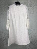 Женская одежда летнее Кружевное Платье дизайнерский бренд класса люкс женское платье белое кружевное платье с длинным рукавом
