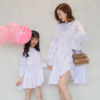 Family Look Fashion Korean Puff Sleeve Mother Daughter Dresses Casual Long Sleeves Mommy and Me Clothes Matching Family Outfits