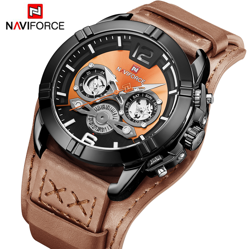 2019 New NAVIFORCE Top Brand Men Casual Quartz Watch Military Leather Waterproof Wristwatches Luminous Fashion Sports Male Clock2019 New NAVIFORCE Top Brand Men Casual Quartz Watch Military Leather Waterproof Wristwatches Luminous Fashion Sports Male Clock