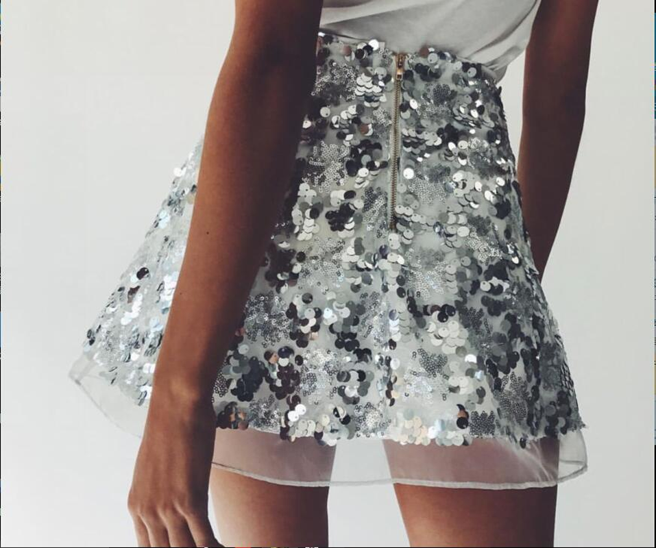 2018 Summer Shiny Sequined <font><b>Skirt</b></font> Party Women Fashion <font><b>Rose</b></font> <font><b>Gold</b></font> Lace Mini <font><b>Skirt</b></font> Vintage Sexy Ladies A Line Bling Party Club <font><b>Skirt</b></font> image