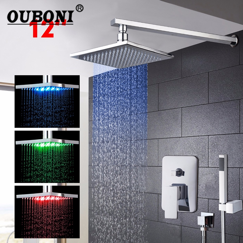 OUBONI LED 12 Inch Brass Bathroom Bath Rainfall Shower Head With Hand Sprayer Set Shower Faucets Sets ouboni modern rainfall
