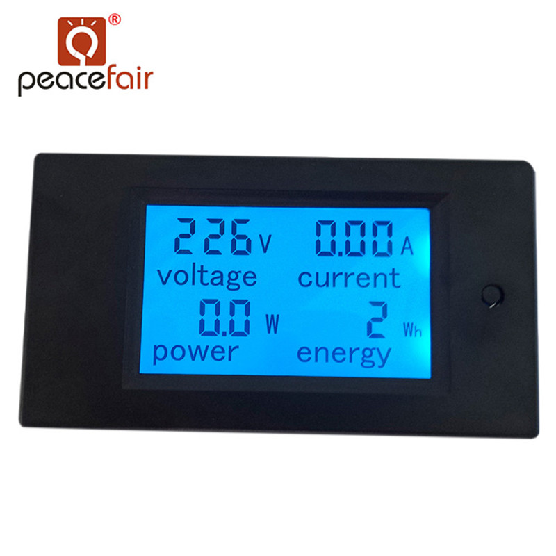 Peacefair AC Single Phase Digital LCD Ammeter Voltmeter 80-260V 20A 4IN1 Electric Volt Amp Megter Power Kwh For Homekit PZEM-021