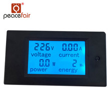 PEACEFAIR New product Digital AC 20A 4IN1 voltage current power energy Voltmeter Ammeter accurate energy meter voltage current power 80 260v 20a ac voltmeter ammeter blue backlight overload alarm function for indoor