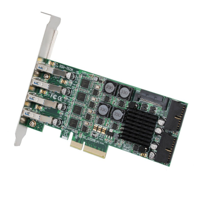 USB 3.0 PCI-E Expansion Card Raiser 8Port USB3.0 PCI Express Card 19 Pin USB 3.0 Adapter SATA Power Connectors for Server Camera адаптер raiser card ver 9