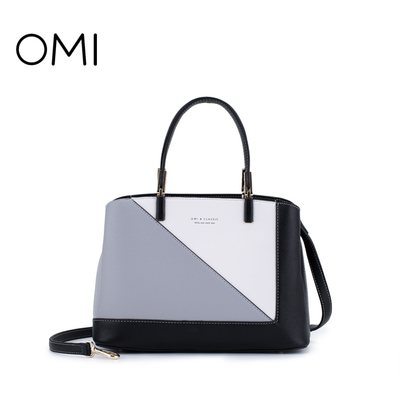 Omi bag female 2018 new color matching handbag geometric pattern bag shoulder bag diagonal package недорго, оригинальная цена