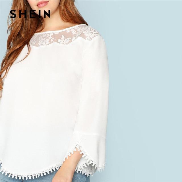 SHEIN Plus Size White Sheer Lace Shoulder Trim Flare Sleeve Women Blouses Spring Summer New Elegant Wavy Hem Solid Top Blouse 4